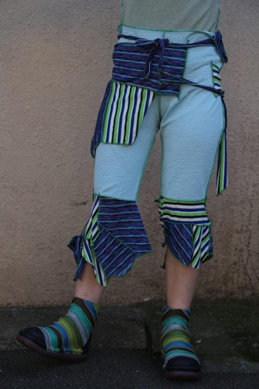 ハンドメイド ブルー&グリーン ストライプ 7分丈パンツ